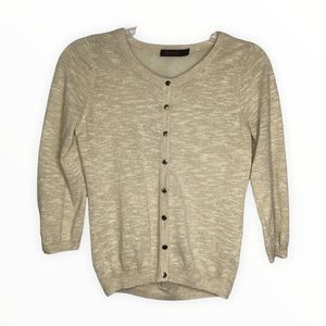 The Limited Women's Cardigan Beige Gold Threads Sheer Chiffon Back
